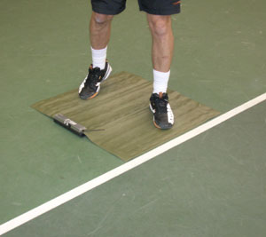 Player standing on mat